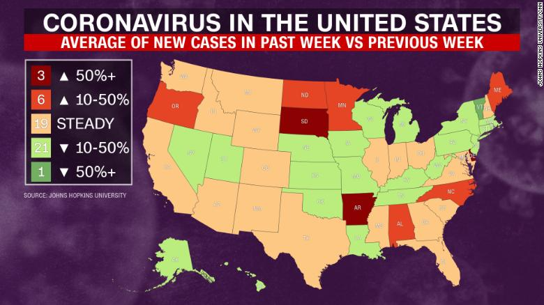 This map, reflecting data as of May 13, 2020, shows the percentage change in the average number of new cases each day over the week ending yesterday compared to the same number for the previous week.