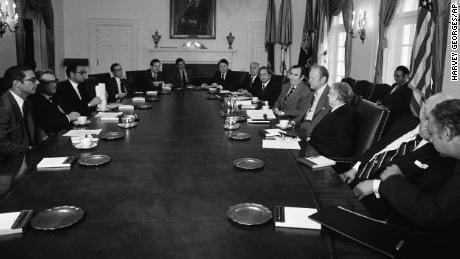 A New York delegation including Peter Goldmark meets with President Gerald Ford and his advisers on May 13, 1975 at the White House, where city officials appealed for $1.5 billion in emergency aid.