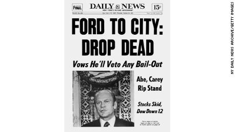 A Daily News headline summed up the White House's initial reluctance to bail out New York.