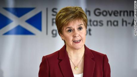 First Minister Nicola Sturgeon gives a coronavirus briefing n Edinburgh.