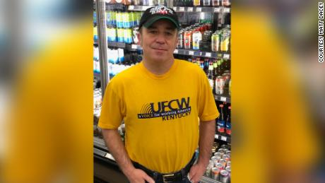 Matt Dacey, a Kroger worker in Lexington, Kentucky, is hard of hearing and is having trouble communicating with customers.