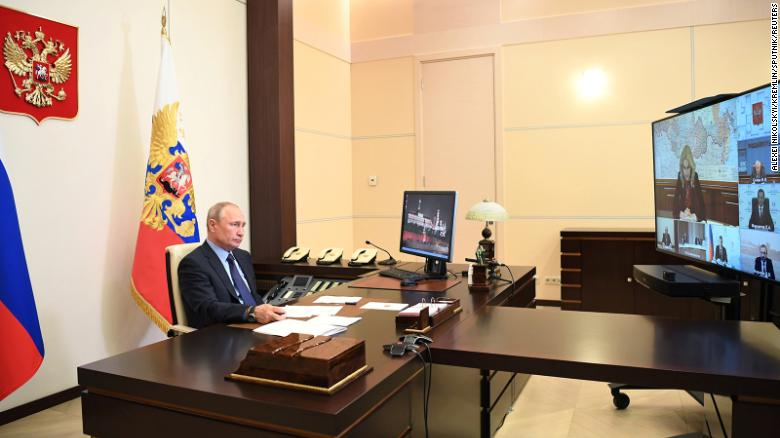 President Putin takes part in a video conference call from his Novo-Ogaryovo state residence outside Moscow, on May 14.