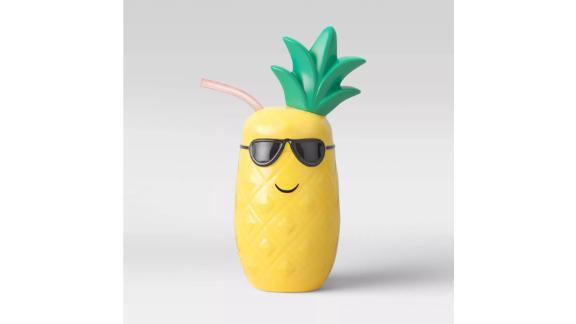 Plastic Pineapple Tumbler with Straw