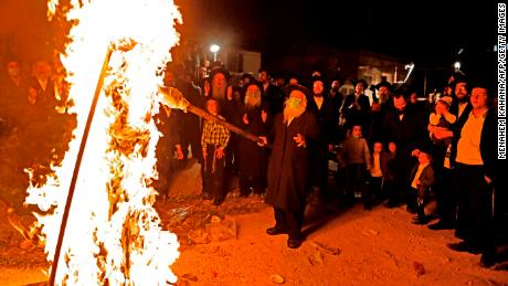 Ultra-Orthodox Jews light a Lag Ba-Omer bonfire in Jerusalem earlier this week.