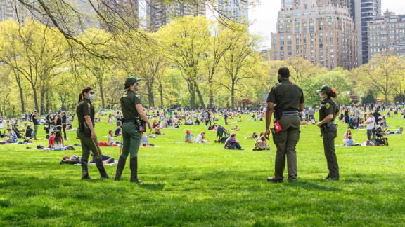 Park enforcement officers stand watch in New York City's Central Park during the coronavirus pandemic on May 2, 2020.