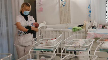 Ukraine's borders are still shut due to the pandemic, leaving dozens of babies trapped at the clinic.