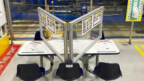 A break table at Fiat Chrysler's Warren Stamping Plant in Michigan includes barriers to protect workers.