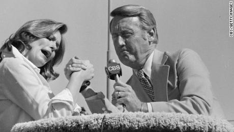 "Phyllis George and Vin Scully as co-hosts on ""Celebrity Challenge of the Sexes"" on April 17, 1977."