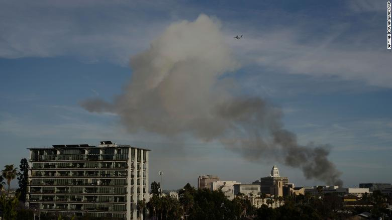 Smoke from the explosion could be seen from a distance across Los Angeles.