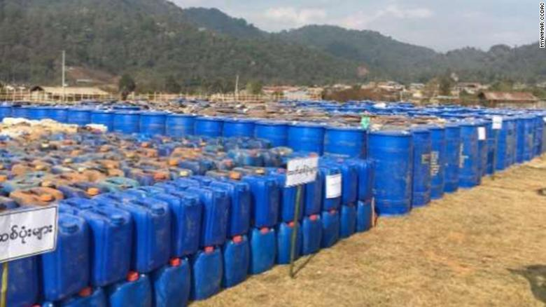 Barrels of chemicals from the seizure are seen in this handout photograph from the Myanmar government.