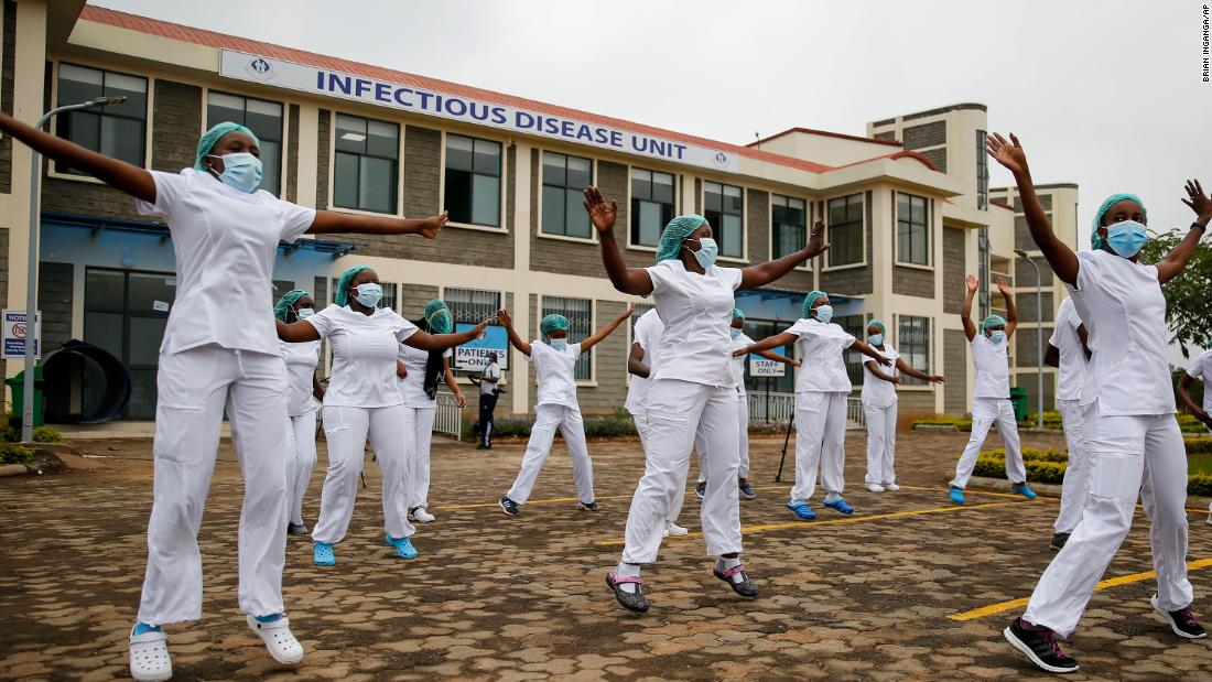 Nurses in Nairobi, Kenya, take part in a Zumba fitness class in the parking lot of the Kenyatta University Teaching, Referral and Research Hospital on May 17.