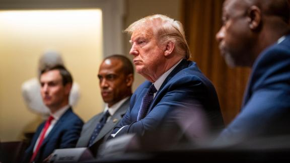 U.S. President Donald Trump listens during a meeting in the Cabinet Room of the White House May 18, 2020 in Washington, DC. President Trump held a meeting to discuss Opportunity Zones.