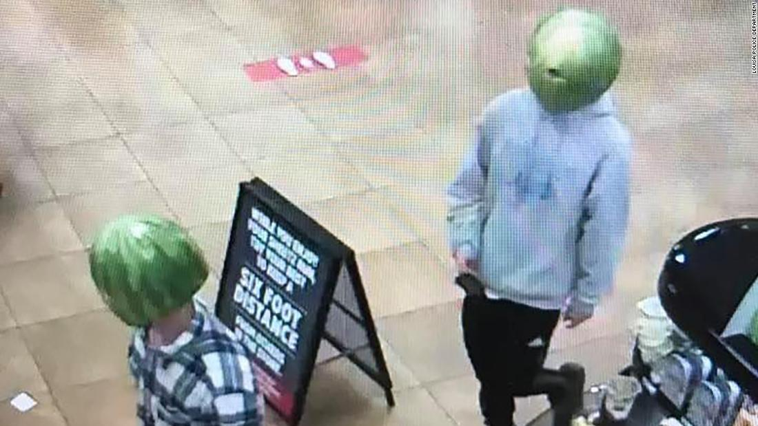 A man who wore a watermelon on his head while stealing from a convenience store has been arrested
