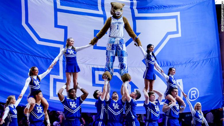 The Kentucky Wildcats mascot preforms with the cheerleading team during a February 2020 game.
