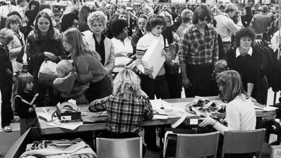 A JCPenney exchange desk is busy on the day after Christmas in 1980.