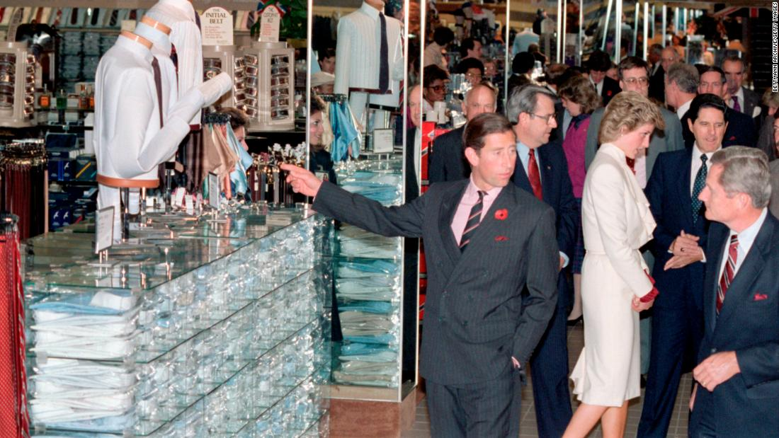 Britain's Prince Charles and Princess Diana visit a JCPenney store in Springfield, Virginia, during a trip to the United States in 1985.