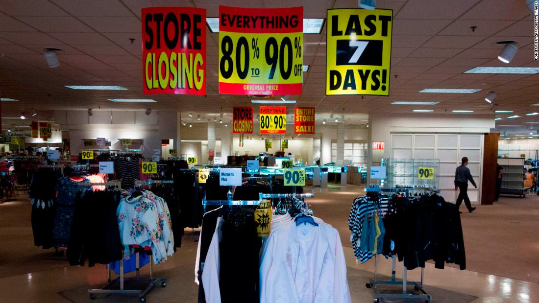 JCPenney shoppers view discount merchandise in Bloomsburg, Pennsylvania, in 2017. Since the fall of 2011, the company has reported only five profitable quarters -— all of them in the holiday shopping season.