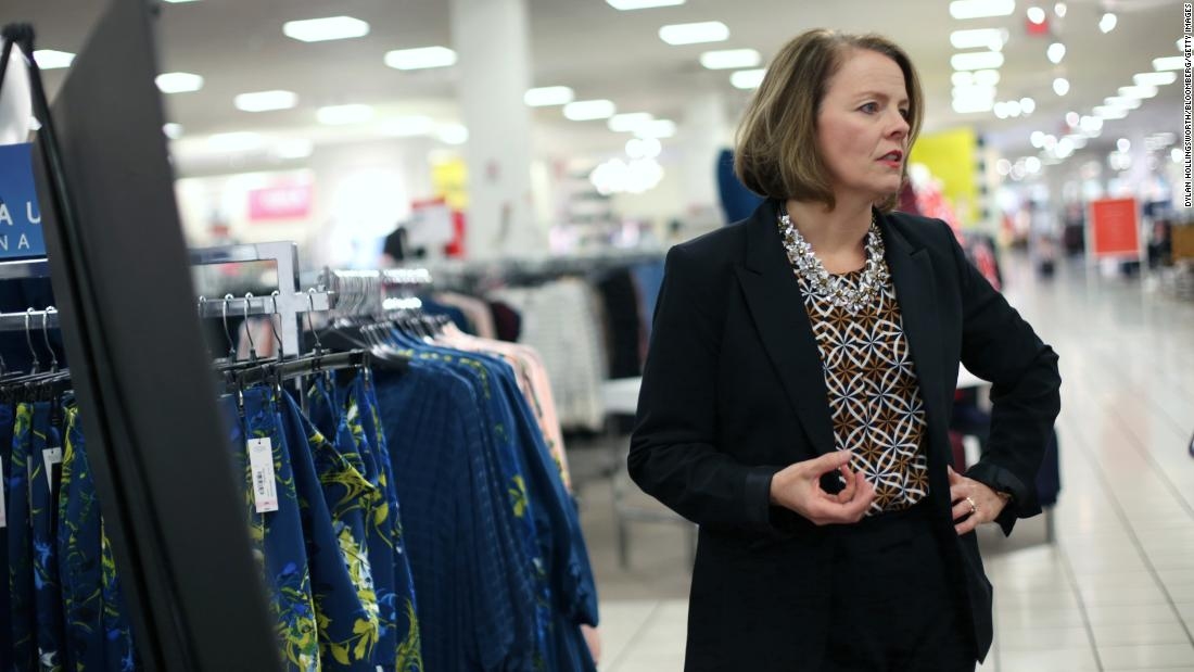 JCPenney CEO Jill Soltau speaks during an interview in Fort Worth, Texas, in 2019. The company has had four different CEOs in the past 10 years.