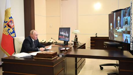 Russian President Vladimir Putin holds a videoconference meeting with representatives from Dagestan.