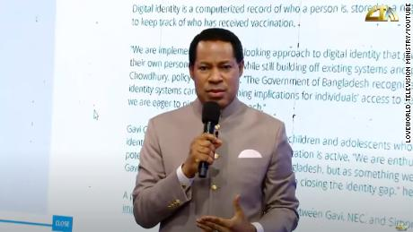 A screengrab from a video posted to Youtube shows Pastor Chris Oyakhilome speaking during a sermon.