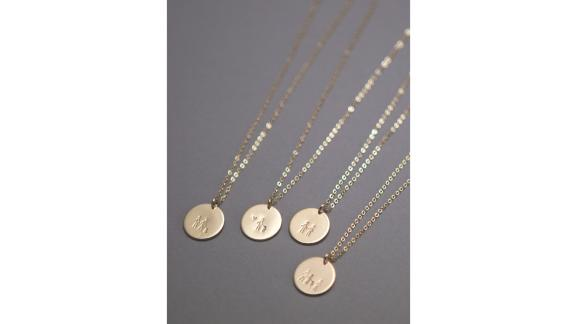 Stick Family Disk Necklace