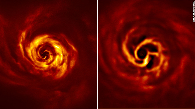 """These images show the disk around the young star AB Aurigae. More detail can be seen in the zoomed-in image on the right, showcasing the inner region and the bright yellow """"twist"""" where a planet is likely being formed."""