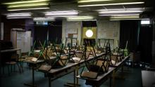 An empty classroom at the Saint-Exupery school in the Paris suburb of La Courneuve. France has closed its schools for a total of 10 weeks since the beginning of the pandemic -- far less than many other European countries.