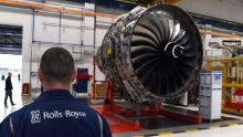 Rolls Royce Trent XWB engines designed for the Airbus A350 family of aircraft at the Rolls Royce factory in Derby, central England.