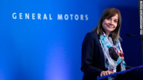 General Motors (GM) CEO Mary Barra speaks to the news media before the automobiile maker's annual meeting of shareholders at GM world headquarters June12, 2018 in Detroit, Michigan. (Photo by Bill Pugliano/Getty Images)