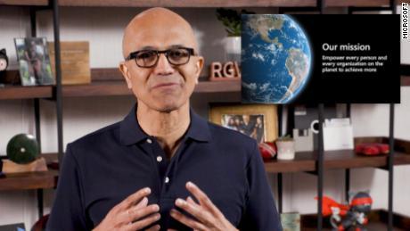 Microsoft CEO Satya Nadella during the first virtual presentation for Build 2020