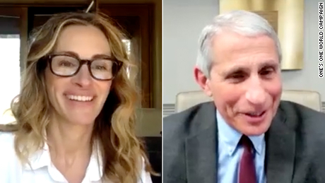 Julia Roberts and other celebs team with Dr. Fauci for #PassTheMic campaign
