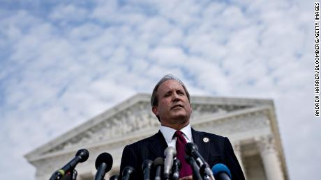 Ken Paxton, Texas attorney general, speaks during a news conference outside the Supreme Court in Washington, D.C., U.S., on Monday, Sept. 9, 2019