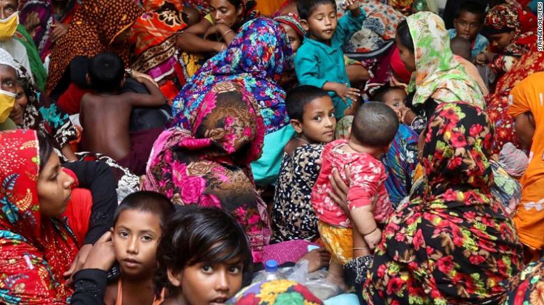 People gather at a cyclone center for protection before Cyclone Amphan made  landfall in Gabura, on the outskirts of Satkhira district, Bangladesh May 20.