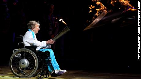 Margaret Maughan lights the Paralympic cauldron ahead of the 2012 Games in London.
