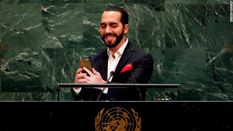 El Salvador's President Nayib Bukele takes a selfie portrait during his addresses to the 74th session of the United Nations General Assembly.