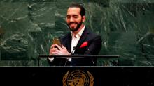 El Salvador & # 39; s President Nayib Bukele takes a selfie portrait during his addresses to the 74th session of the United Nations General Assembly.