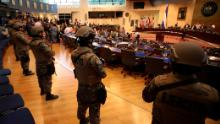 Armed Special Forces soldiers of the Salvadoran Army, following orders of President Nayib Bukele, enter congress upon the arrival of lawmakers, in San Salvador, El Salvador, Sunday, Feb. 9, 2020)