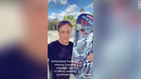 Skateboarding pro Tony Hawk posted a video to TikTok in response to Farrar's.