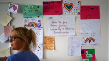 Thank you notes and rainbow pictures cover  the walls at the Royal Blackburn Teaching Hospital in Blackburn, England.