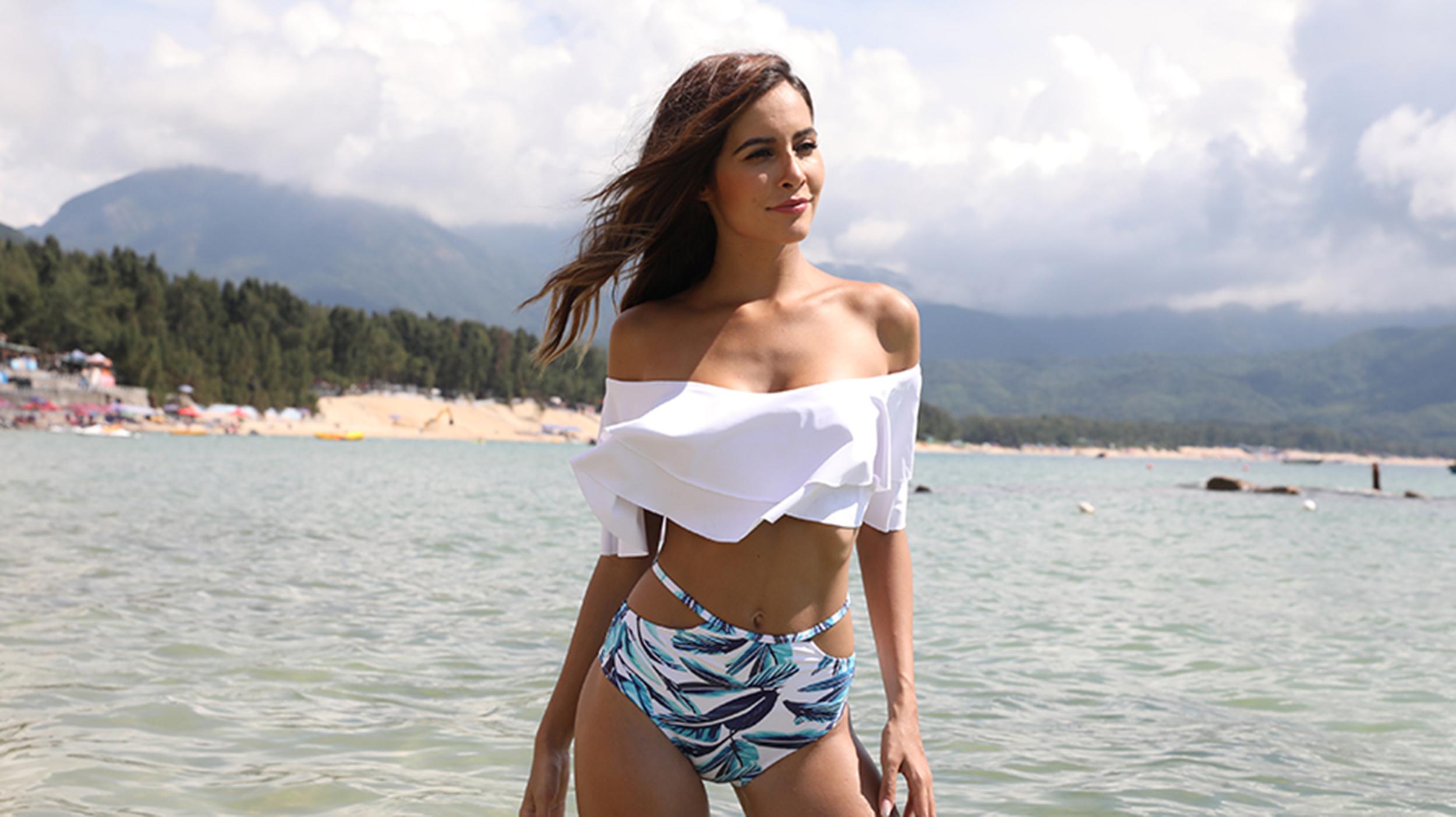 Womens V-neck Ruffles Bikini Swimwear Mid Waist Swimsuit Beachwear bathing suit