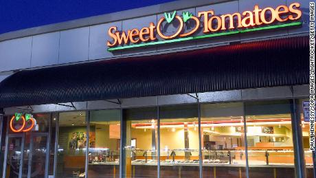A Sweet Tomatoes restaurant that was temporarily closed due to the Covid-19 pandemic is seen on the day that Garden Fresh Restaurants announced that it will not reopen its 97 Sweet Tomatoes and Souplantation locations across the United States.