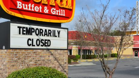 A closed Golden Corral restaurant in Raleigh, NC, on March 21, 2020.