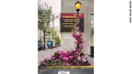 This flower flash, set up outside the New York-Presbyterian Hospital, was dedicated to the health care workers on the front lines of the pandemic.