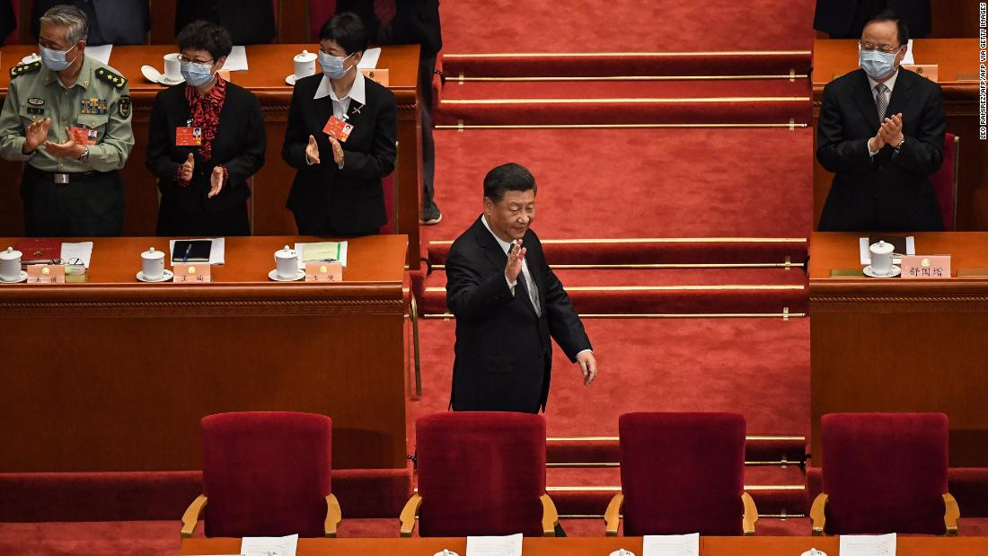 Chinese President Xi Jinping arrives for the opening session of the Chinese People's Political Consultative Conference at the Great Hall of the People in Beijing on Thursday.