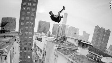 A member of Storror flips in between two buildings.