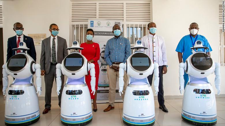 "These robots were <a href=""https://edition.cnn.com/2020/05/25/africa/rwanda-coronavirus-robots/index.html"" target=""_blank"">donated </a>by the United Nations Development Program (UNDP) to Rwanda, to help fight the spread of coronavirus. They are used for temperature screening, monitoring the status of patients, and keeping medical records, according to Rwanda's Ministry of ICT and Innovation."