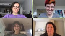 Tall Poppy employees during a Zoom meeting, remotely working from home. CEO Leigh Honeywell doesn't expect to return to her office before a coronavirus vaccine is widely available. The Bay Area-startup just hired its first employee who works from the other side of the country — in New Jersey.