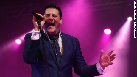 Singer Tony Hadley of Spandau Ballet performing in 2015 in Singapore.