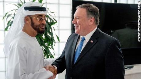 Mike Pompeo (R) pictured with UAE's Crown Prince Mohammed bin Zayed 2018.