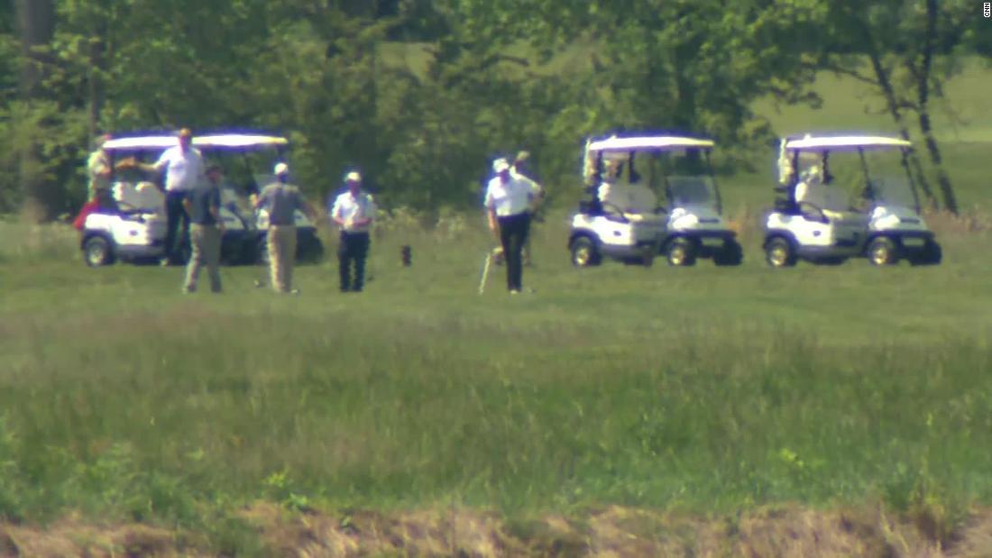 Trump is golfing at his Virginia club amid the coronavirus pandemic